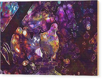 Wood Print featuring the digital art Dove Bird Feather Animal Plumage  by PixBreak Art