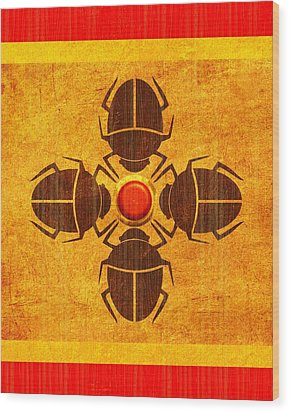Wood Print featuring the digital art Egyptian Scarab Beetle by John Wills