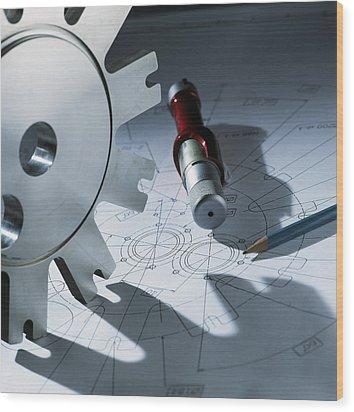 Engineering Equipment Wood Print by Tek Image
