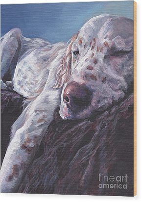 Wood Print featuring the painting English Setter by Lee Ann Shepard