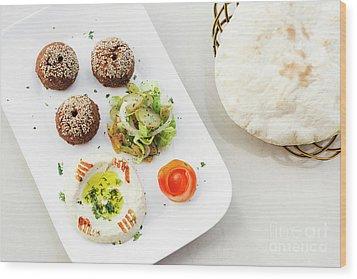 Falafel Hummus Houmus Starter Snack Food Mezze Platter Wood Print