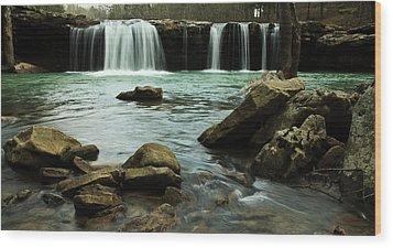 Falling Water Falls Wood Print by Iris Greenwell