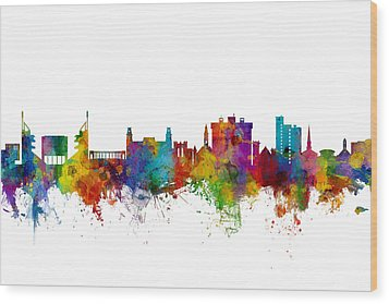 Wood Print featuring the digital art Fayetteville Arkansas Skyline by Michael Tompsett