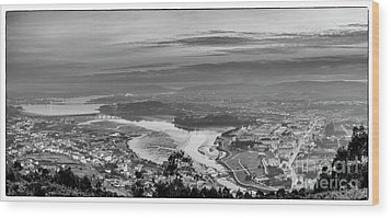 Wood Print featuring the photograph Ferrol's Ria Panorama From Mount Ancos Galicia Spain by Pablo Avanzini