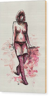 Figure Study Wood Print by Rachel Christine Nowicki