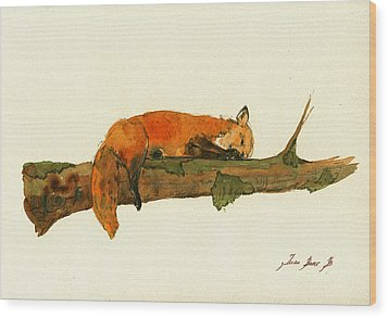 Fox Sleeping Painting Wood Print by Juan  Bosco