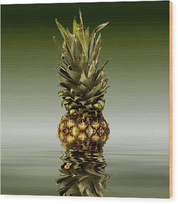 Wood Print featuring the photograph Fresh Ripe Pineapple Fruits by David French