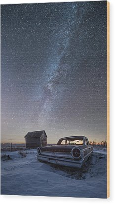 Wood Print featuring the photograph 3 Galaxies  by Aaron J Groen