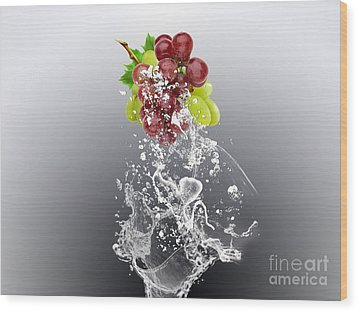 Grape Splash Wood Print