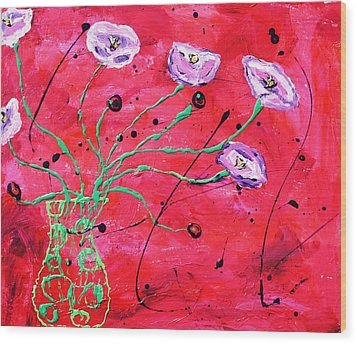 Happy Poppies Wood Print by Victoria  Johns