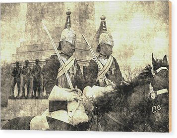 Household Cavalry Changing Of The Guard Vintage Wood Print