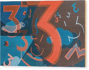 3 In Blue And Orange Wood Print