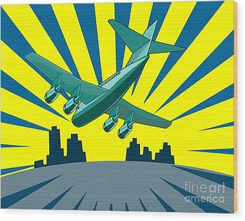 Jumbo Jet Plane Retro Wood Print by Aloysius Patrimonio