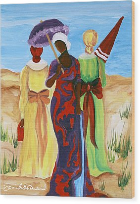 Wood Print featuring the painting 3 Ladies by Diane Britton Dunham