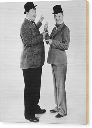 Laurel And Hardy Wood Print by Granger
