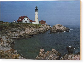 Lighthouse - Portland Head Maine Wood Print by Frank Romeo