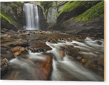 Looking Glass Falls Wood Print by Andrew Soundarajan