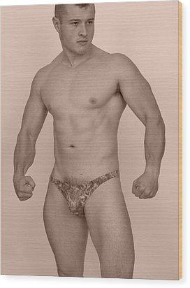 Male Muscle Wood Print