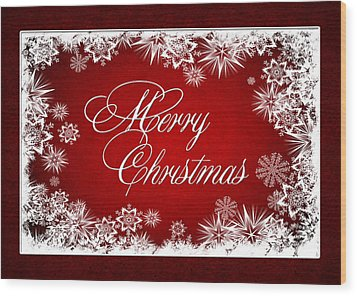 Merry Christmas Card Wood Print
