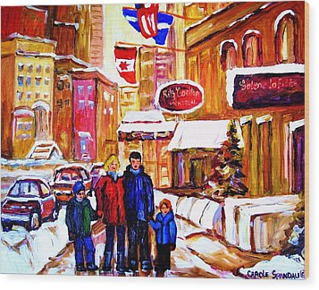 Wood Print featuring the painting Montreal Street In Winter by Carole Spandau