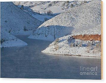 Mountain Lake In Winter Wood Print