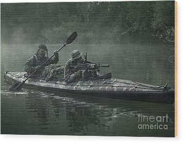 Navy Seals Navigate The Waters Wood Print by Tom Weber