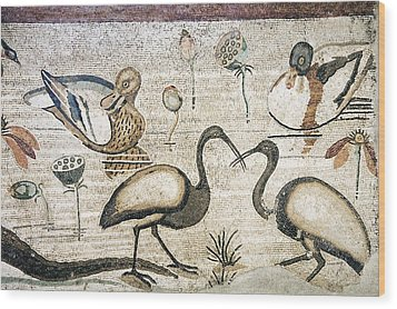 Nile Flora And Fauna, Roman Mosaic Wood Print