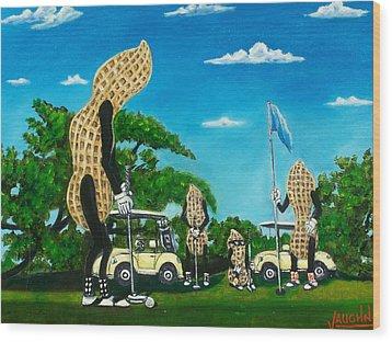 Nutz Bout Golf Wood Print by Charles Vaughn