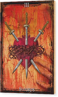 3 Of Swords Wood Print by Tammy Wetzel