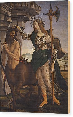 Pallas And The Centaur Wood Print by Sandro Botticelli