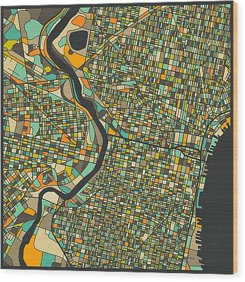 Philadelphia Map Wood Print by Jazzberry Blue