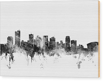 Phoenix Arizona Skyline Wood Print by Michael Tompsett