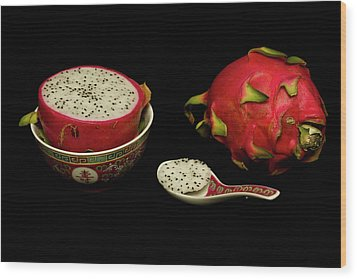 Wood Print featuring the photograph Pink Dragon Fruit  by David French