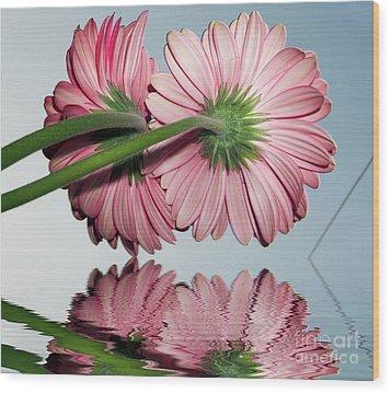 Pink Gerbers Wood Print by Elvira Ladocki
