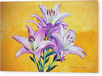 3 Pink Lilies Wood Print by Dennis Clark
