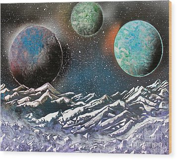 Wood Print featuring the painting 3 Planets 4664 by Greg Moores