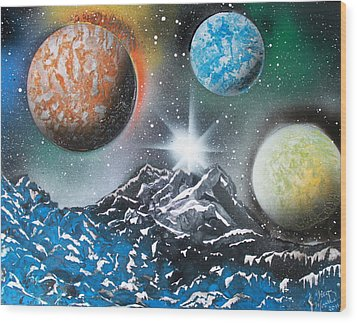 Wood Print featuring the painting 3 Planets 4687 by Greg Moores
