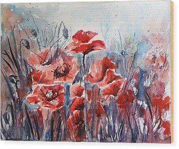 Poppies Wood Print by Kovacs Anna Brigitta
