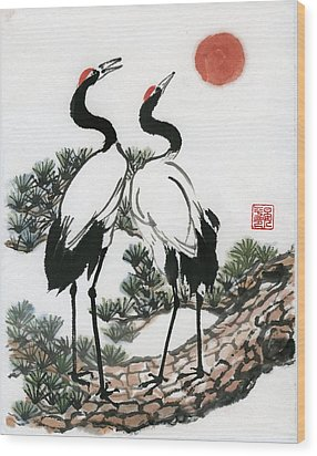 Red Crowned Crane Wood Print