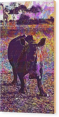 Wood Print featuring the digital art Rhino Africa Namibia Nature Dry  by PixBreak Art