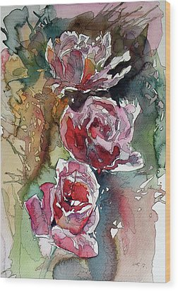Wood Print featuring the painting Roses by Kovacs Anna Brigitta