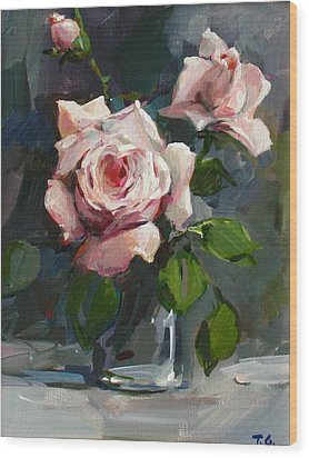 Wood Print featuring the painting Roses by Tigran Ghulyan