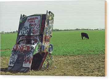 Route 66 - Cadillac Ranch Wood Print by Frank Romeo