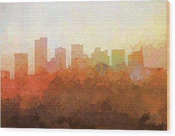 Wood Print featuring the digital art Scottsdale Arizona Skyline by Marlene Watson
