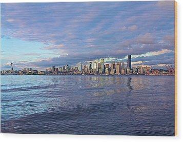 Seattle Skyline Cityscape Wood Print
