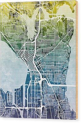 Seattle Washington Street Map Wood Print