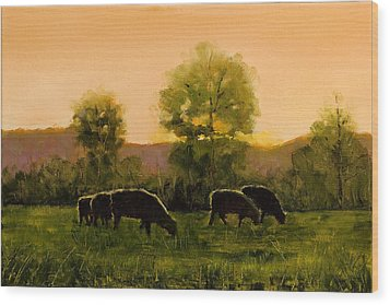 Wood Print featuring the painting Sheep In The Pasture by John Reynolds