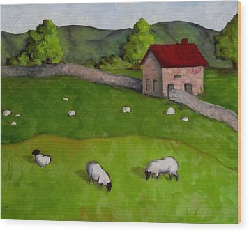 3 Sheep On The Farm Wood Print by Amy Higgins
