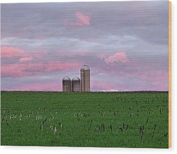 Wood Print featuring the photograph 3 Silos by Robert Geary