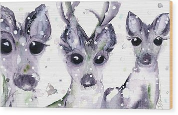 Wood Print featuring the painting 3 Snowy Deer by Dawn Derman